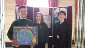 Teacher Rachel Edwards with Catrin Brodrick and Mason McKenzie of Ysgol Dyffryn Aman